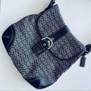 Coach vintage black signature logo messenger bag
